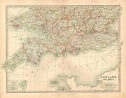 1911 Large Victorian Map England And Wales Southern Sheet London Essex Cornwall