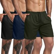 Coofandy Men's 3 Pack Gym Workout Shorts Mesh Weightlifting Squatting Pants Trai
