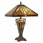 Maxxmore Table Lamp 3-light Mission Style Stained Glass Desk Light 16 In