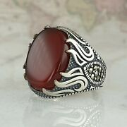 Solide 925 Sterling Silber Mens Ring Rot Achat And Marcasite Edelstein Handgefert