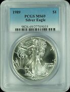 1989 Pcgs Ms69 Silver Eagle Dollar New Pcgs Label