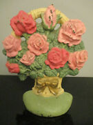 Vintage Cast Iron Pink And Pale Red Roses Flowers In A Basket Bow Door Stop