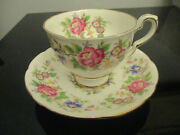 10 Vintage Royal Stafford English Bone China Rochester Floral Tea Cups And Saucers