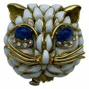Vintage Yellow Gold Enamel Diamond And Cabochon Sapphire Cat Face Pin Brooch