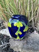 Vintage Hand Blown Glass Vase Murano Floral Italy Cobalt Blue Yellow Flowers