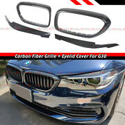 For 2017-2020 Bmw G30 5 Series Carbon Fiber Grill Trim + Headlight Eyelid Cover