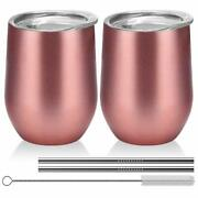 Double Vacuum Insulated 12oz Stainless Steel Tumblers Wine Cup Lid Straw Brush