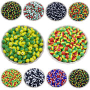 50pcs 6mm Flag Round Loose Beads Jewelry Findings Diy Necklace Braclet Charms