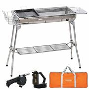 Charcoal Grill, Skeckackdv, Portable Bbq Grill Foldable Stainless Steel Outdoor