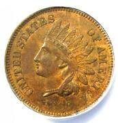 1868 Indian Cent 1c - Certified Anacs Au55 - Rare Early Date Certified Penny