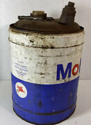 Mobil Oil Co Can 5 Gl Gallon Motor Gas Tin Lub Vintage Service Station