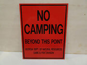 Old No Camping Beyond This Point Tin Sign Ga Dept Of Game And Fish