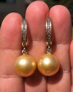 Gorgeous 9k Gold Cultured Golden South Sea Pearl And Diamond Earrings