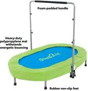 Jump2it Kids Portable 2 Person Mini Trampoline With Adjustable Central Handle