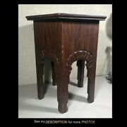 Antique Oak Taboret Table Plant Stand Hexagonal Top Arts And Crafts Era