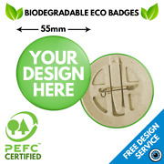55mm Custom Badges Eco Friendly • Personalised Recycled Pin Badge Biodegradable