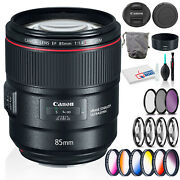Canon Ef 85mm F/1.4l Is Usm Lens With Cleaning Kit And Filter Kits