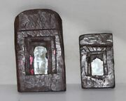 Set Of 2 Wooden Wall Hanging Frame With Mirror Antique Hand Carved Collectible