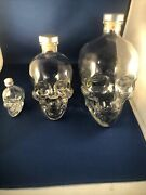 3 Crystal Head Vodka Skull Glass Bottles Empty 1.75l And 750ml And 50ml