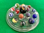 Vintage Lot Of 16 Glass And Clay Marbles On Flower Frog Display 3 Shooters Plus