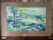 1950-60s Original Watercolor On Paper Painting W Boats By Vivian Kinsley Chapin