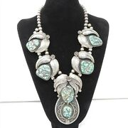Nyjewel Antique Sterling Silver Navajo Natural Turquoise Huge Pendant Necklace
