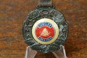 Vintage Antique 1864-1914 Golden Jubilee Watch Fob W/ Celluloid Center And Leather