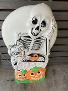 Sun Hill Vintage Skeleton Cat Pumpkin Double Sided Blow Mold Usa -very Rare