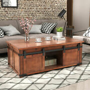 Wood Coffee Table W/ Storage Shelf And Cabinets And Sliding Doors Tv Stand Furniture