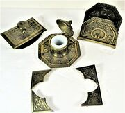 Jennings Brothers Art Metal Ink Well, Rolling Blotter, Letter Holder, Ink Pad Co