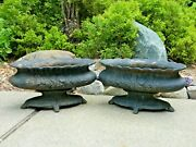 Pair Of Unusual 20 Oval Footed Cast-iron Planters / Urns, Local Pickup Michigan