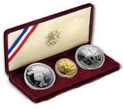 1983 / 1984 Us Mint 3 Coin Olympic Silver 10 Gold Commemorative Proof Set W/coa
