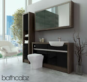 Bathroom Fitted Furniture Black Gloss/mali Wenge 1400mm H1 With Wall And Tall - Ba