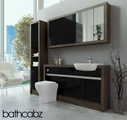 Bathroom Fitted Furniture Black Gloss/mali Wenge 1500mm With Wall And Tall - Bathc