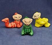 Set Of 3 Vintage Pixie Elf Ceramic Figurines Green And Red Sitting Kneeling Laying