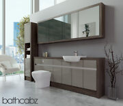 Bathroom Fitted Furniture Latte Gloss/mali Wenge 2100mm H1 With Wall And Tall - Ba