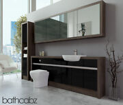 Bathroom Fitted Furniture Black Gloss/mali Wenge 2200mm H1 With Wall And Tall - Ba