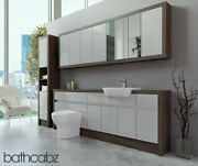 Bathroom Fitted Furniture Light Grey Gloss/mali Wenge 2200mm With Wall And Tall -