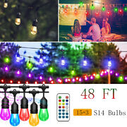 48ft String Lights Outdoor Led Rgb Color Changing Waterproof Patio Hanging Light