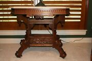 Antique Victorian Ornate Marble-top Table Parlor Table Walnut