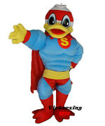 Muscle Duck Masot Costume With Red Cape Adult Superhero Duck Free Shipping