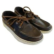 Sperry Top-sider Menand039s Slip On Nautical - Brown Boat Shoes Size 7 M - Leather