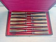Antique Angres French Horn Handles Dinner Knives 12 Pieces Early 20th With Case