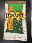 Embro Corn Embossed Farm Agriculture Seed Advertising Sign