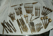 Gold Flatware And Serving Buddha On Handle Marked Thailand 62 Pieces