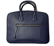 2,000 Bally Blue Leather Computer Bag Adjustable Shoulder Strap Made In Italy