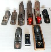 9 Mixed Vintage Lot Used 6 Stanley 2 Unmarked Planes Planers Tools 1 Sm Xacto