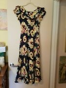 Silky Hawaiian Vintage Antique Dress 40and039s Classic Print