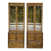 Pair Thomasville Campaign Oak 2 Piece Wall Units / Display Cabinets / Etageres