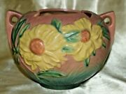 Roseville Pottery Peony Bowl 427-4 Pink / Green Textured Background Ca. 1942